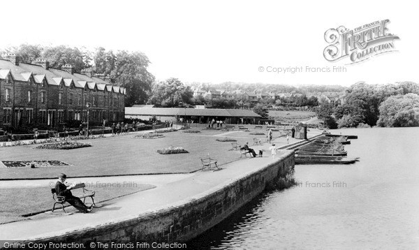 Otley, Wharfe Meadows Park from the Bridge c1955