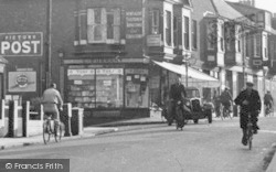 Oulton Broad, Cyclists, Bridge Road c.1955