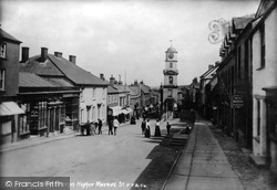 Penryn, Higher Market Street And Town Hall 1904