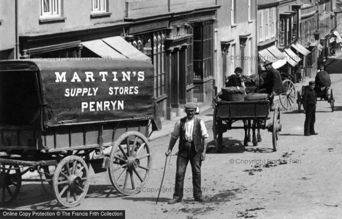 Photo of Penryn, Waggon In Market Street 1897