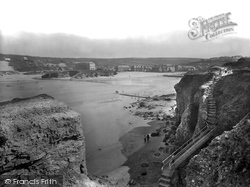 Perranporth, Bay And Cliff Steps 1935
