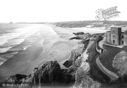 Perranporth, The Bay And Droskyn Hotel 1912