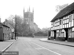 Abbey From Newlands c.1950, Pershore
