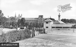 Peterborough, Cathedral And Gardens c.1955