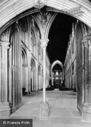 Cathedral, Long View From West Door c.1930, Peterborough