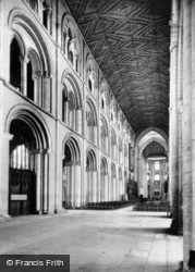 Cathedral, North Wall And Nave Ceiling c.1930, Peterborough
