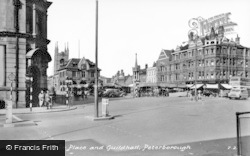 Peterborough, Market Place And Guildhall c.1950