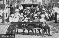 People Gathered By The Fountain 1919, Peterborough