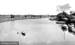 The River Nene And Embankment c.1955, Peterborough