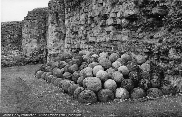 Photo of Pevensey, Castle, Stone Catapult Balls c.1955