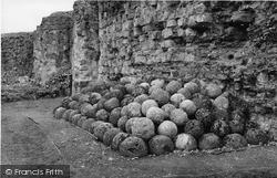 Pevensey, Castle, Stone Catapult Balls c.1955