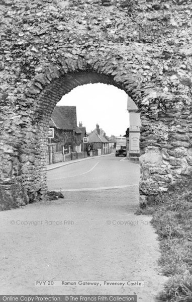 Photo of Pevensey, Castle, The Roman Gateway c.1955