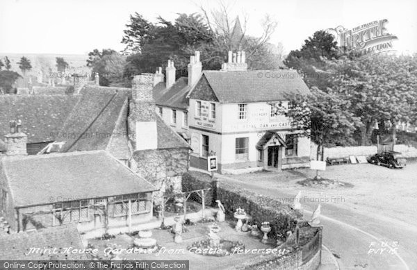 Photo of Pevensey, Mint House Gardens From Castle c.1955