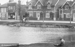 Pirbright, Boy Beside Village Pond 1908