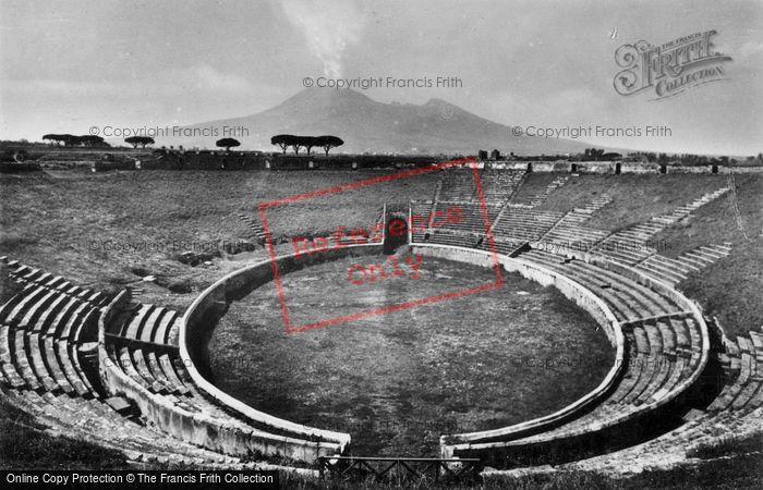 Photo of Pompeii, Amphitheatre And Vesuvius c.1920