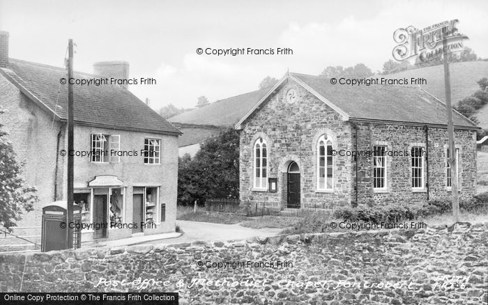 Photo of Pontrobert, Post Office And Methodist Church c.1955