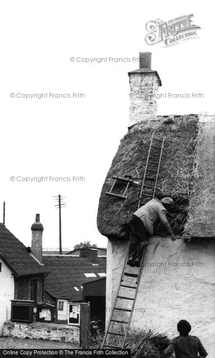 Photo of Porlock, Thatching c1950, ref. p74043
