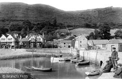 Porlock Weir, Fishermen At The Harbour 1907