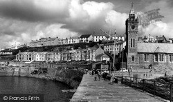 Porthleven, Bay Terrace And The Clock Tower c.1955