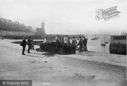 Porthleven, Fishermen Hauling Up The Seine 1907