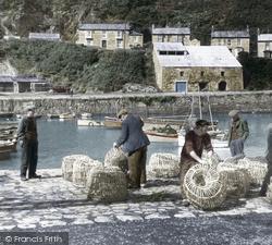 Porthleven, Fishermen With Lobster Pots c.1955