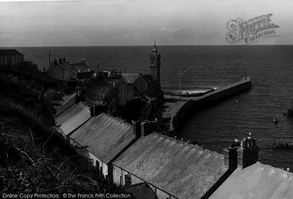 Photo of Porthleven, The Breakwater And Clock Tower c.1955