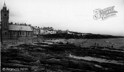 Porthleven, The Clock Tower And Beach c.1955