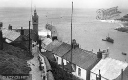 Porthleven, The Clock Tower And Jetty 1933