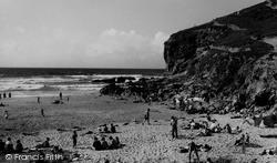 Porthtowan, Beach And Rocks c.1955