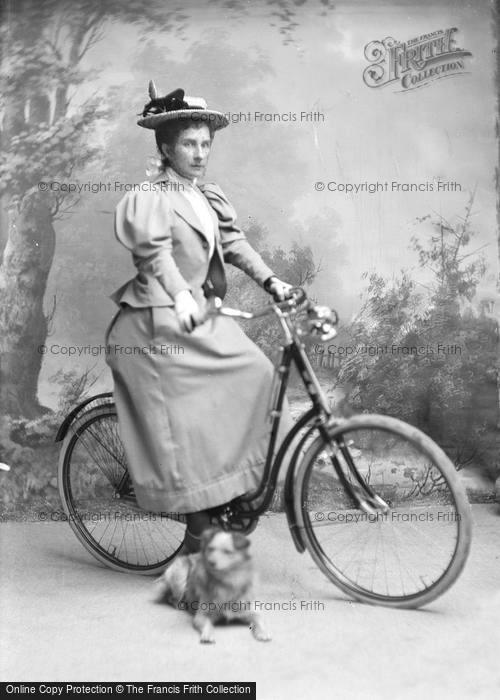 Photo of Portraiture, Miss Hyde,  On A Bicycle c.1895