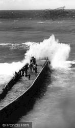 Portreath, Rough Sea c.1965