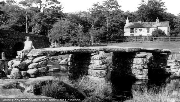 Postbridge, Old Clapper Bridge c1955