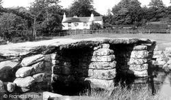 Postbridge, Old Clapper Bridge c.1955