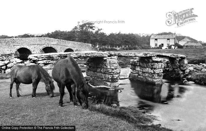 Postbridge, Ponies at the Clapper Bridge c1960