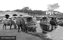 Postbridge, Ponies At The Clapper Bridge c.1960