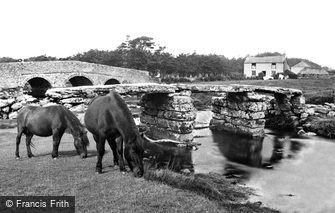 Postbridge, Ponies at the Clapper Bridge c1960