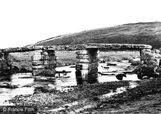 Postbridge, the Clapper Bridge c1869
