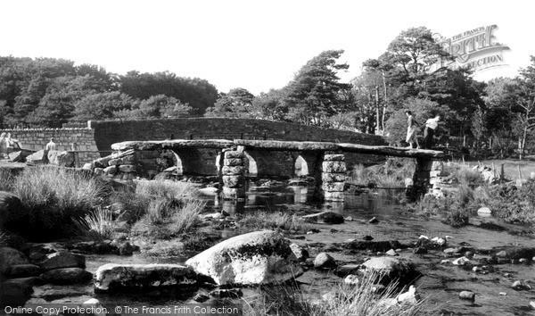 Postbridge, the Clapper Bridge c1955