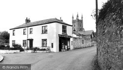 The Post Office And St Olaf's Church c.1960, Poughill