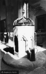 Poynings, The Font, Holy Trinity Church Interior c.1960