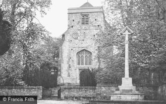 Puttenham, Church of St John the Baptist and War Memorial c1955