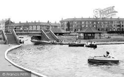 Coatham Enclosure, Bridge And Boating Lake c.1955, Redcar