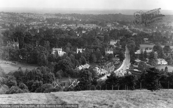 Photo of Reigate, view from Reigate Hill 1927, ref. 79690