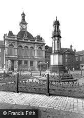 Retford, War Memorial and Town Hall c1955