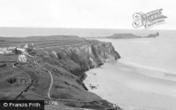 Rhossili, Worms Head And Village c.1955