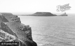 Rhossili, Worms Head c.1955