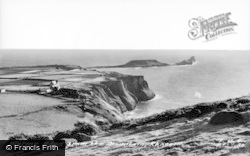 Rhossili, Worms Head, From The Mountain c.1955