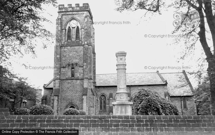 Ripley, the Church and War Memorial c1955