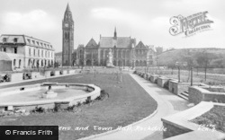 Rochdale, The Gardens And Town Hall c.1955