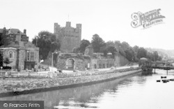 Rochester, Castle From The Bridge c.1955